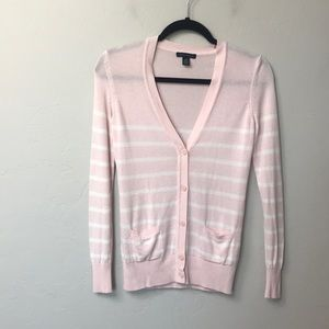 Tommy Hilfiger pink and white cardigan. Size XS